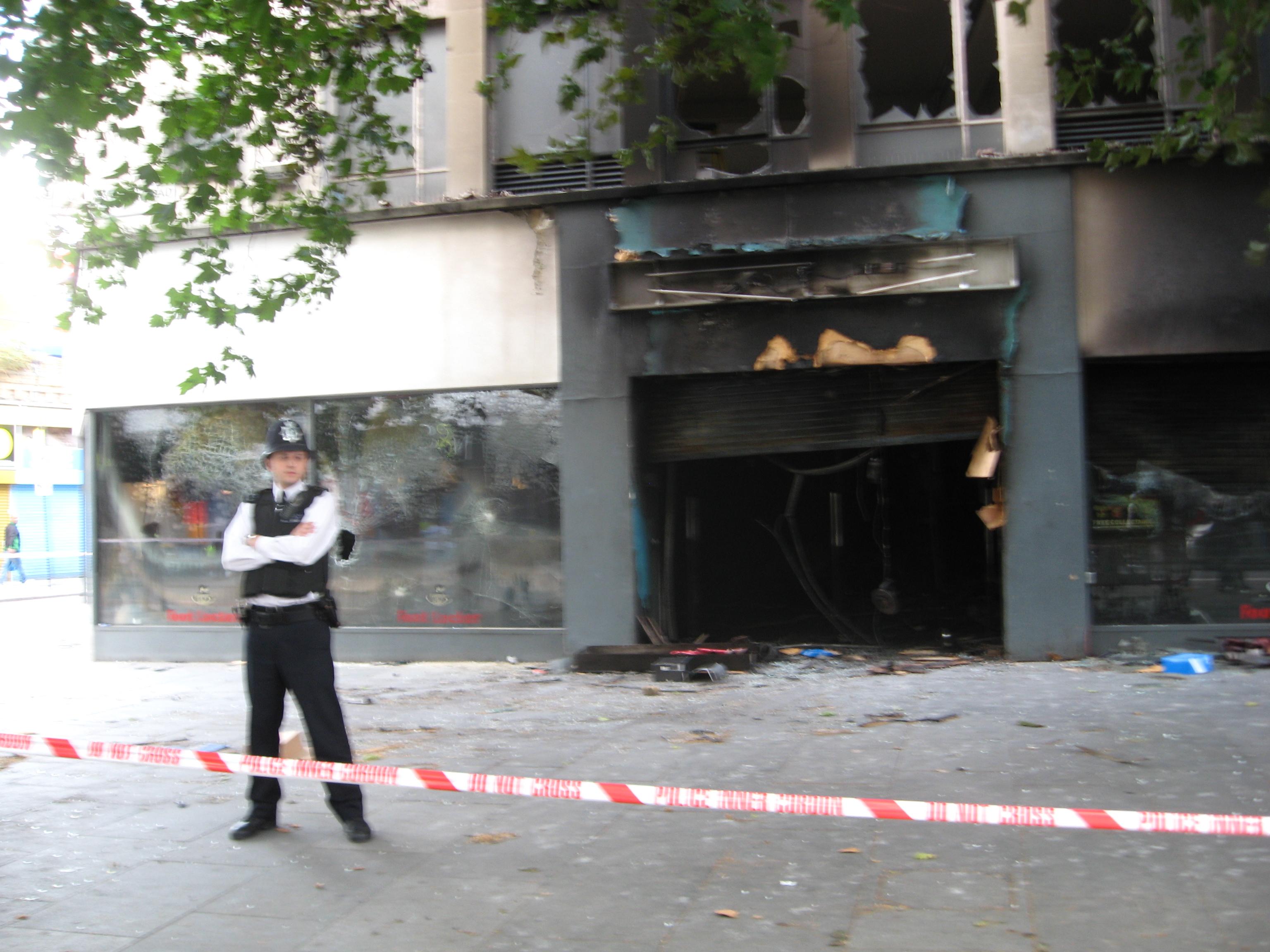 burned-out shop