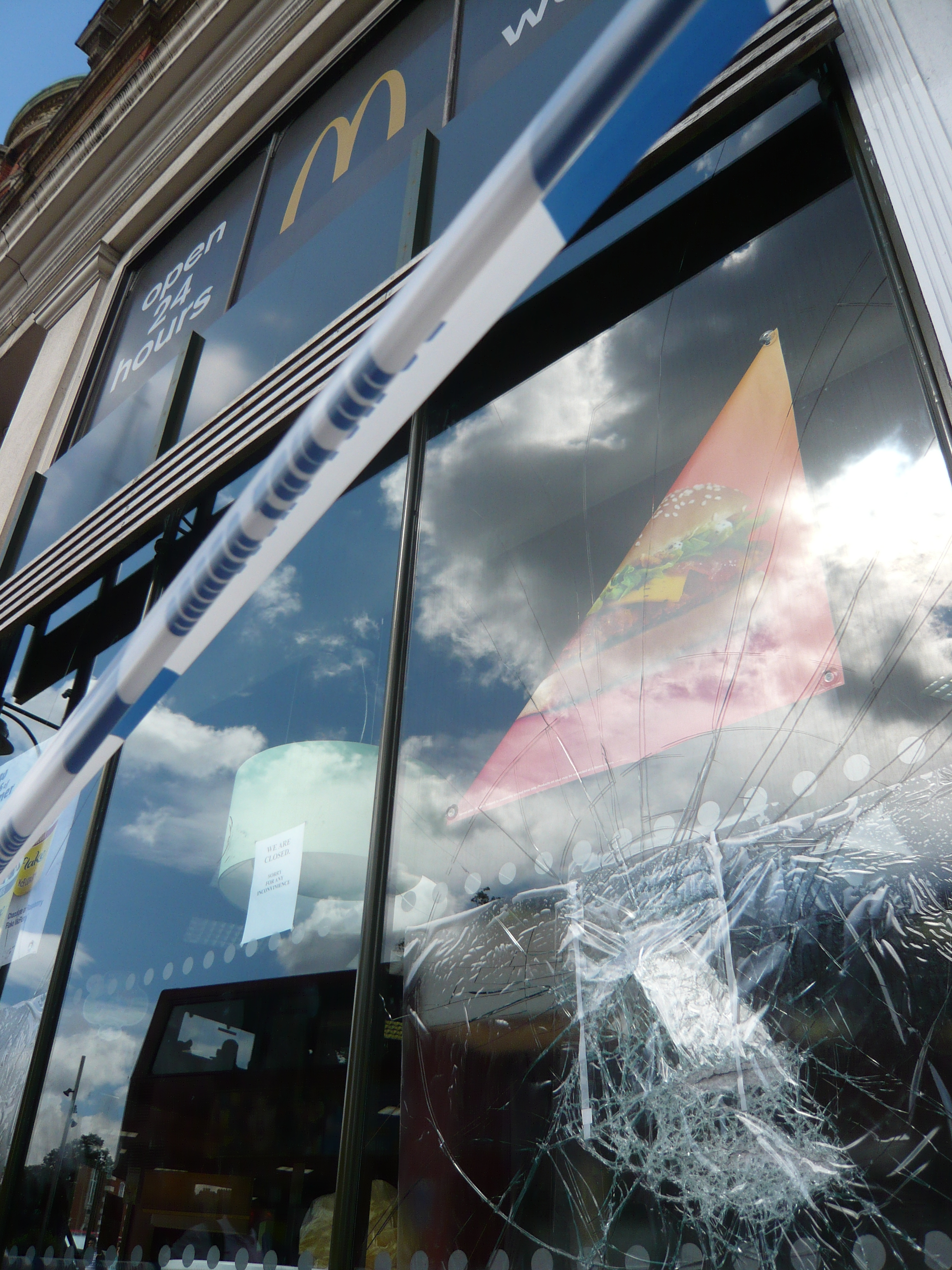 smashed window of a McDonalds